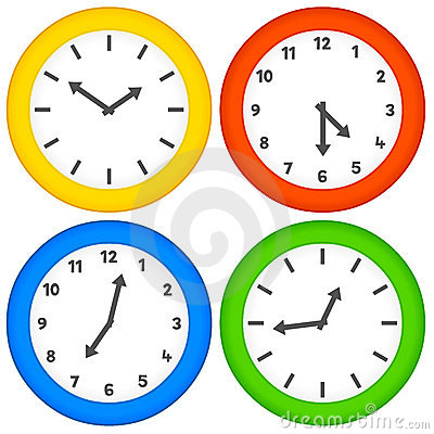 Assorted Clocks on a White Background
