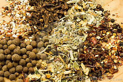 Assorted dried herbs and spices