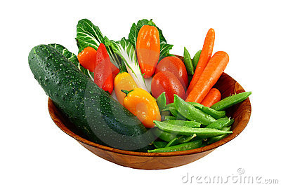 Assorted Fresh Vegetables In A Wooden Bowl