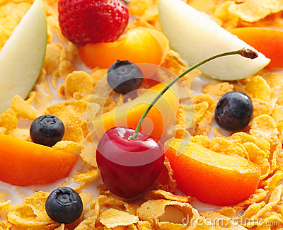 Assorted Fruits on cornflakes