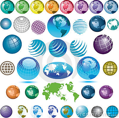 Assorted globe icons