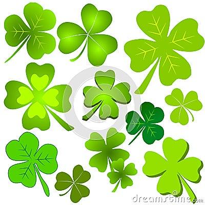 Assorted Green Clover Leaf Clip Art