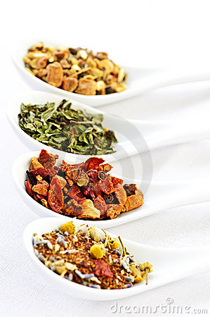 Free Assorted Herbal Wellness Dry Tea In Spoons Stock Photography - 11010762