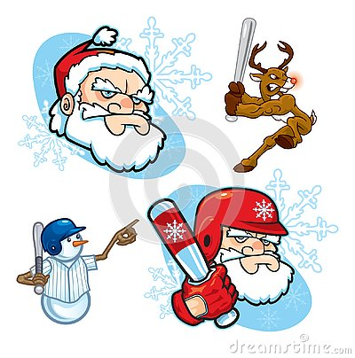 Christmas Baseball Icons Stock Photo