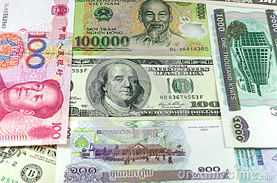 Assorted international paper money close up