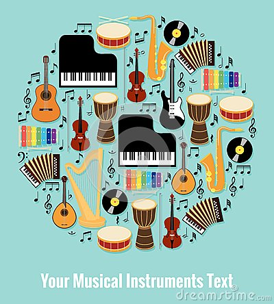 Free Assorted Musical Instruments Design With Text Area Royalty Free Stock Photography - 45817397