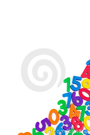 Assorted Numbers,  on white background.