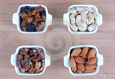 Assorted nuts nine varieties for a background