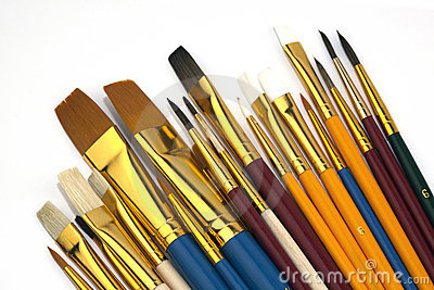 Assorted Paintbrushes in Different Sizes,Isolated