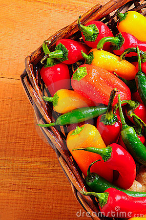 Assorted peppers in basket