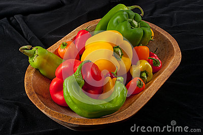 Assorted Peppers in  Wood Bowl