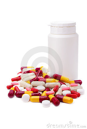 Assorted pills and bottle