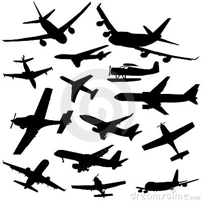 Assorted plane silhouettes illustration