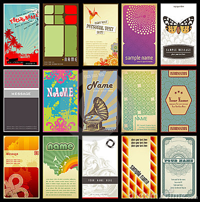 Assorted retro business cards - different styles