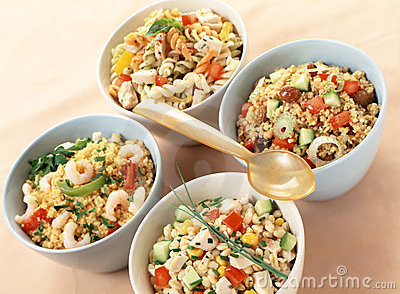 Assorted salads with carbohydrates