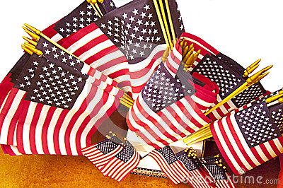 Assorted Sizes of American Flags