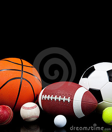 Free Assorted Sports Balls On A Black Background Stock Photo - 11481720