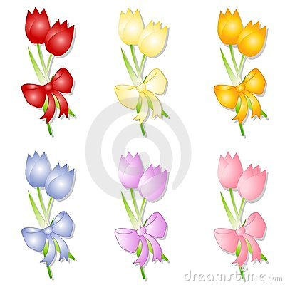 Assorted Spring Tulips With Bows