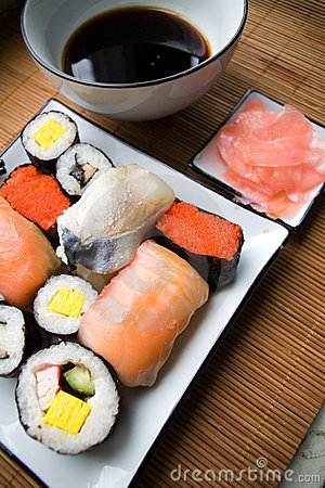 Assorted sushi on plate