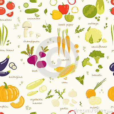 Free Assorted Vegetable Vector Seamless Pattern Stock Image - 45570051
