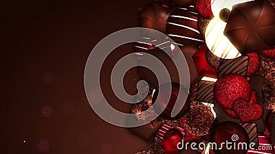 Assortiment van zoete chocoladesuikergoed De dag van de valentijnskaart `s Lijnanimatie stock video