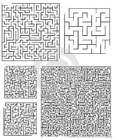 Assortimento dei labirinti quadrati