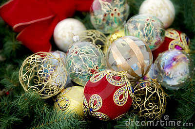 Assortment of christmas baubles