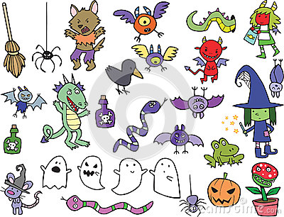 Assortment of Cute Halloween Cartoon Characters and Icons