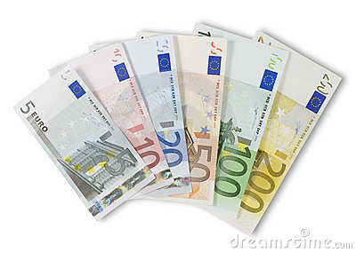 Assortment of Euro banknotes.