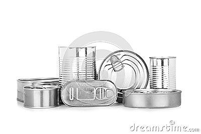 Assortment of food tin can