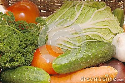 Assortment of fresh vegetables on box