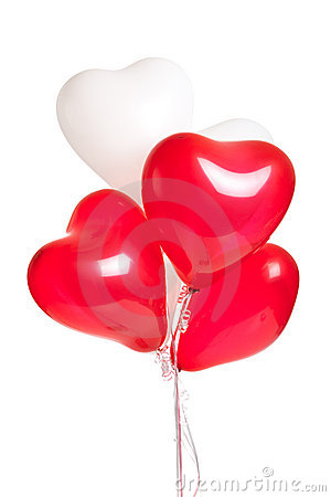 Assortment of heart balloons on white