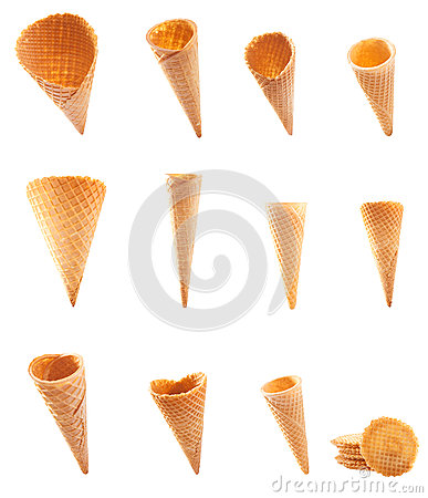 Assortment of icecream cones and cornets