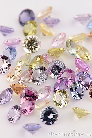 Assortment of multicolored Precious Stones.