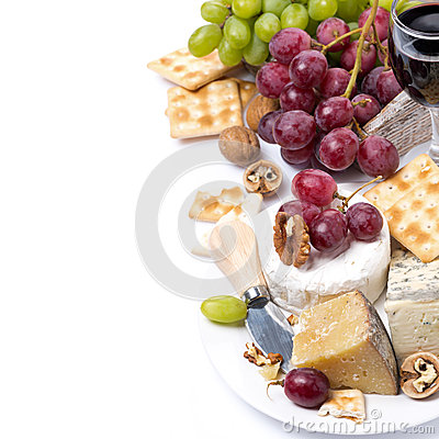 Free Assortment Of Cheeses, Glass Of Red Wine, Grapes, Crackers Stock Images - 39796844