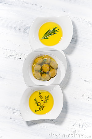 Free Assortment Of Different Types Of Olive Oil In White Bowls, Top V Stock Image - 92570441
