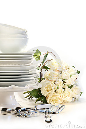 Free Assortment Of Plates For Wedding Stock Photography - 5588602
