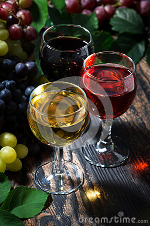 Free Assortment Of Wine On Wooden Background, Vertical, Top View Stock Photography - 83798442