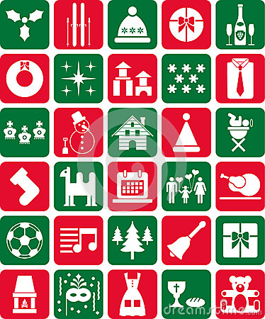 Red and Green Christmas Icons
