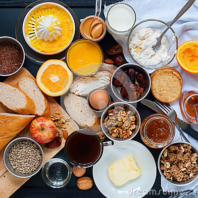 Free Assortment Set Breakfast Fresh Food Top View Royalty Free Stock Images - 69019899