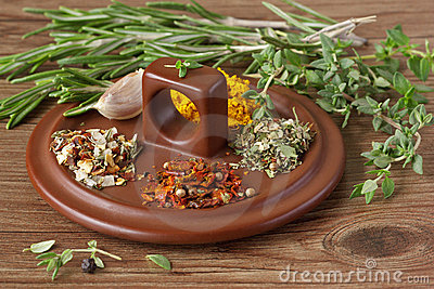 Assortment of spices.