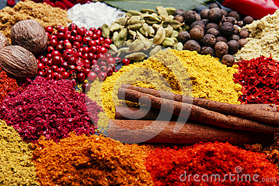 Assortment of spices seasoning on a black stone Stock Photo