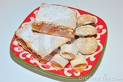Homemade apple pie, jam cookies and gingerbread