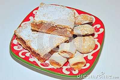 Homemade apple pie, jam cookies and gingerbread