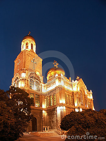 The Assumption Cathedral by night