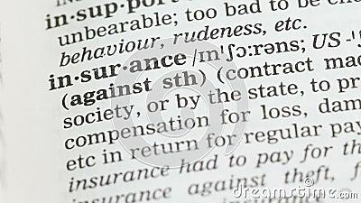 Assurance, signification écrite dans la protection anglaise de vocabulaire, de santé et de propriété banque de vidéos