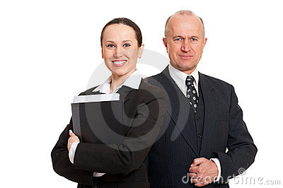 Assured smiley businesspeople
