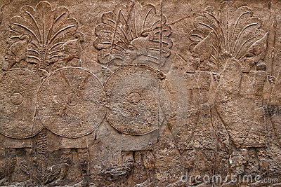 Assyrian relief depicting a group of warriors