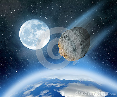 Asteroid Falling On Earth Royalty Free Stock Image - Image ...