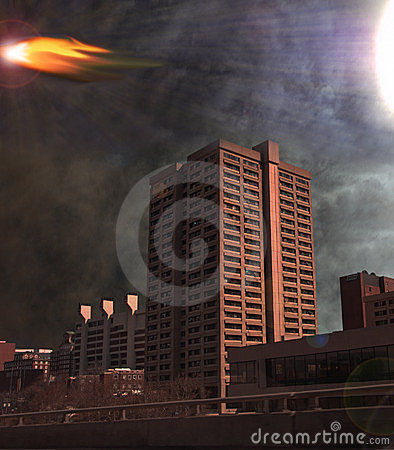 Asteroid over city depiction